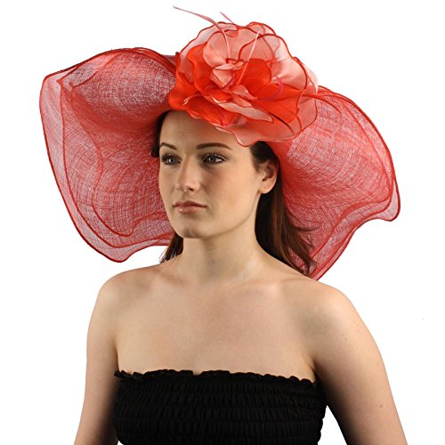 "UPC 026265011230, Summer Kentucky Derby Side Flip 7"" Brim Layer Floppy Flower Feathers Hat Red"