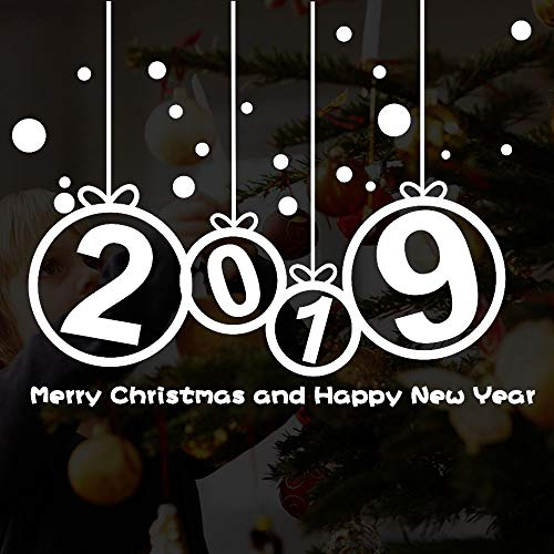 (Icocol New Year 2019 Merry Christmas Wall Sticker Home Shop Windows Peel and Stick Wall Decals,25''x20'')