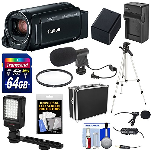 Canon Vixia HF R800 1080p HD Video Camera Camcorder (Black) with 64GB Card + Battery & Charger + Hard Case + Tripod + LED Light + 2 Microphones ()