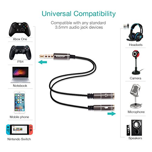 kingtop 3 5mm combo audio adapter cable for ps4 xbox one
