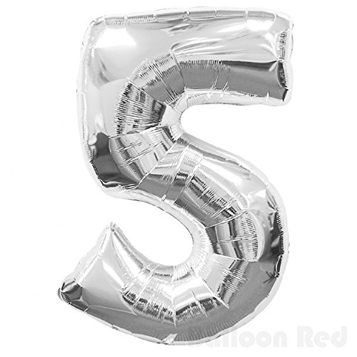 16 Inch Foil Mylar Balloons for Wall Decoration (Premium Quality, Air Fill Only), Glossy Silver, Number 5