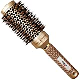 Medium Large Round Brush 2 Inch, Boar Hair Brush Round for Women, Round Brush for Blow Drying Medium Length, Ceramic Barrel Professional Hair Brush With Boar Bristle, Roller Round Brush for Flip