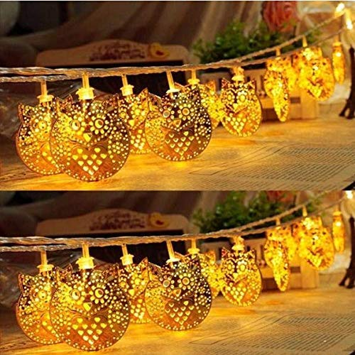 LiYou Owl String Lights, 1.8M 10 LED Metal Owl String Lights LED Fairy Lights for Festival Christmas Halloween Party Wedding Decoration Battery Powered