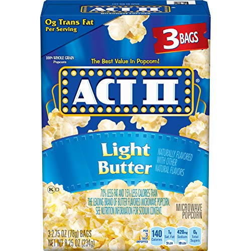 ACT II Light Butter Microwave Popcorn Bags, 3-Count (Pack of ()