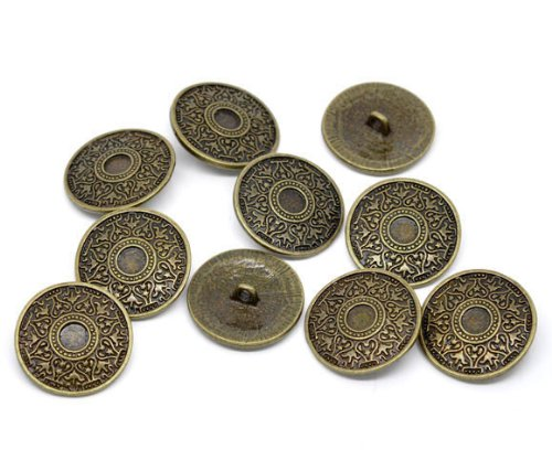 PEPPERLONELY Brand 10PC Antiqued Bronze Round Scrapbooking Sewing Buttons 25mm (Approximately 1 Inch)