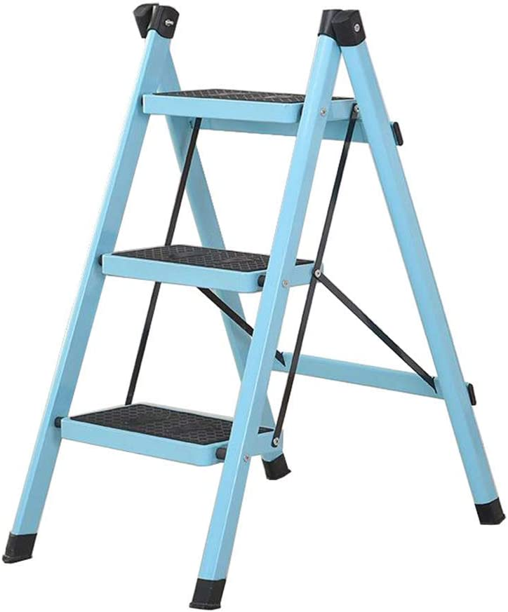 S&RL Escalera de Tijera Escalera Escalonada Taburete Plegable Taburetes 3 Pisada Taburete Escalonada Hierro Plegable Interior Pequeña Cocina Escalera Antideslizante Plegable, Blue: Amazon.es: Deportes y aire libre