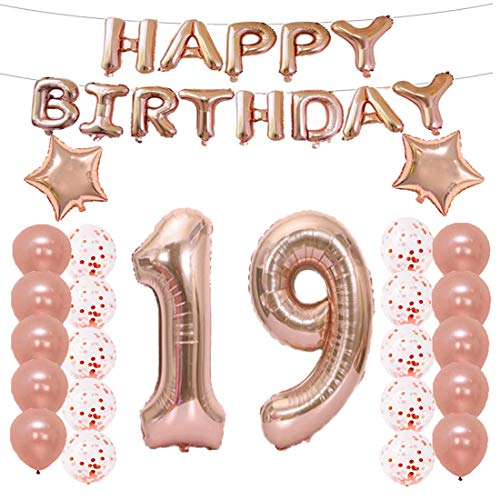 LQQDD 19th Birthday Decorations Party Supplies,19th Birthday Balloons Rose Gold,Number 19 Mylar Balloon,Latex Balloon Decoration,Great Sweet 19th Birthday Gifts for Girls,Photo -