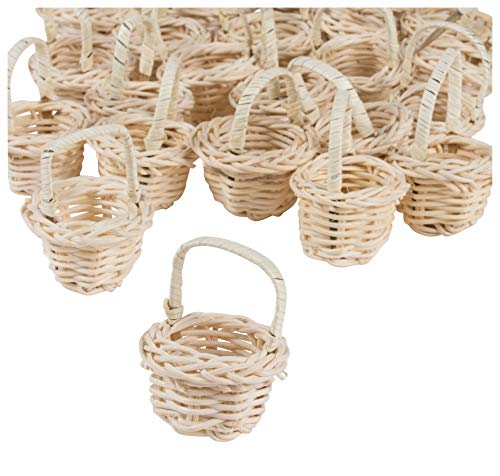 Mini Baskets- 24-Pack Miniature Willow Bleached Baskets with Handles, Mini Woven Baskets, Small Country Baskets, for Parties, Gardens, Home Decoration, Off-White, 1.75 x 1.75 x 2.5 Inches