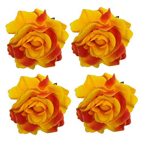 Sanrich 4pcs/pack Fabric Rose Hair Flowers Clips Mexican Hair Flowers Hairpin Brooch Hair Accessory Wedding Party Headpieces(orange red) ()
