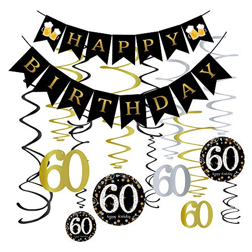 60th Birthday Party Decorations KIT - 60 Years Old Party Banner,60 Hanging Swirls Gold,60th Years Old Party Supplies Anniversary Decorations -