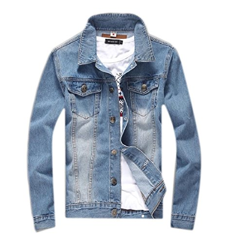 Winwinus Mens Washed Slim Fitting Casual Plus Size Coat Jean Jacket Tops Two 3XL