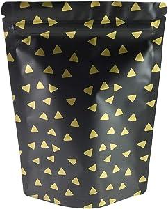 "QQ Studio 100 Matte Stand-Up Food Grade Design Storage Ziplock Bags (3oz (5"" x 7""), Matte Black & Gold Diamond Stand-Up Pouch)"