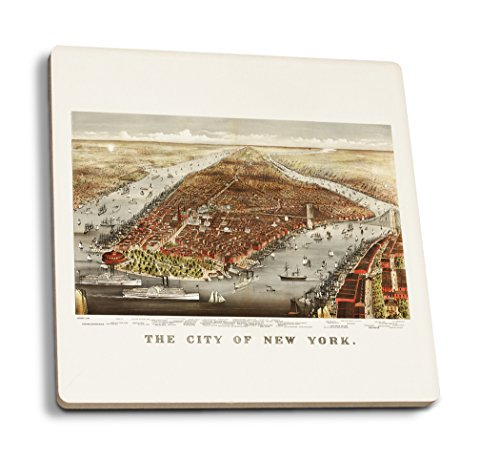 - Lantern Press New York City, New York - (1876) - Panoramic Map (Set of 4 Ceramic Coasters - Cork-Backed, Absorbent)
