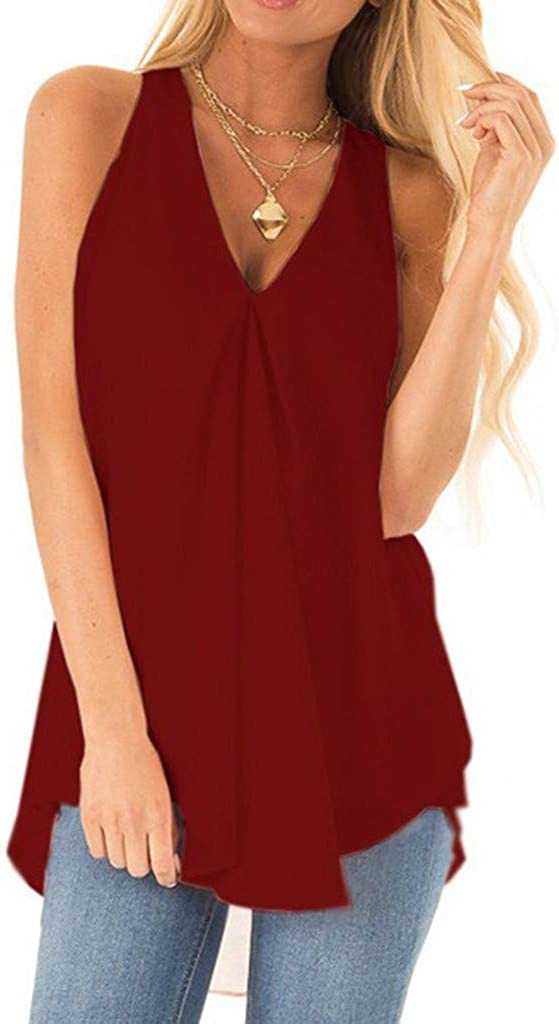 Meikosks Ladies Solid Color Flowy Top V Neck Sleeveless Tank Casual Loose Summer Vest