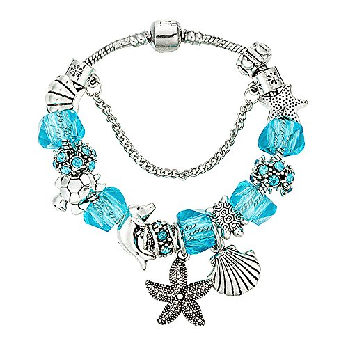 Charm Bracelet for Women Teen Girls Blue Beach Star Fish Seashell Turtle Dangle Beaded Wrist Bangle 7.5
