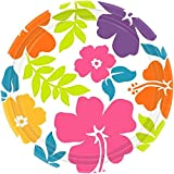 """Hibiscus Dessert Plates Hawaiian Tropical Luau Beach Party Disposable Summer Picnic Tableware, 50 Pieces, Made from Paper, White, 7"""" by Amscan"""