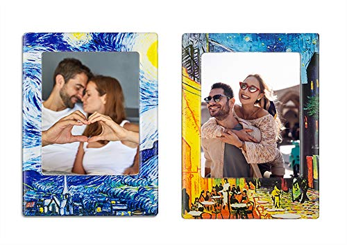 Morcart Van Gogh Photo Frame Magnets(2pcs) The Starry Night And Cafe Terrace At Night Magnets 3D Pattern Funny Office Baby Classroom Holiday Gifts Whiteboards Succulent Magnets In Your Kitchen ()