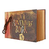 Our Adventure Book Scrapbook for Anniversary Wedding Travel Handmade Albums Scrap Book 11.6 x 7.5 Inches 40 Sheets 80 Pages Photo Album with Handcraft Photo Corner Stickers