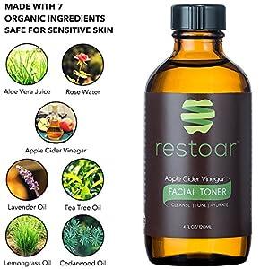 Organic Face Toner - Apple Cider Vinegar Natural Acne Treatment - Clear Blemishes, Unclog Pores, Reduce Redness - Facial Cleanser & Moisturizer - pH Balance Dry, Oily & Combination Skin - 4 oz RESTOAR