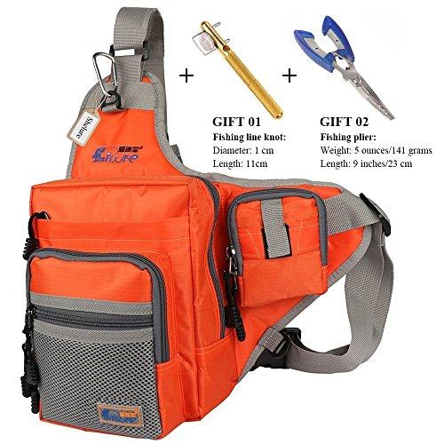 Anglerbasics Shoulder Bag Fishing Tackle Bag Chest Bag Crossbody Messenger Sling Bags Outdoor Sports Hiking Travel(ORANGE+Plier+Fishing (Braided Mesh Short)