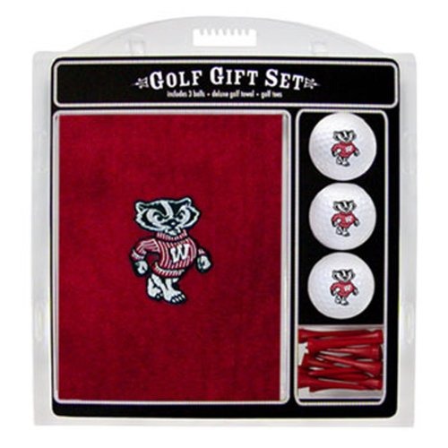 Team Golf NCAA Wisconsin Badgers Gift Set Embroidered Golf Towel, 3 Golf Balls, and 14 Golf Tees 2-3/4