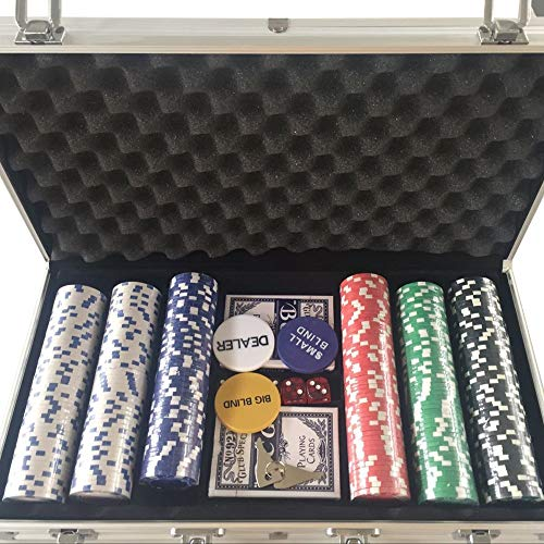 - Qinhum New Portable 300 Chips Poker Dice Chip Set Texas Poker Cards Aluminum Case (Ship from US)