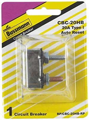 Bussmann (BP/CBC-20HB-RP) 20 Amp Type-I Stud Mount Circuit Breaker with Lengthwise Bracket