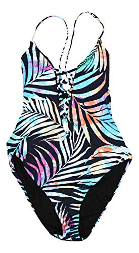 Bar III Womens Tie-Dyed Lace-Up One-Piece Swimsuit (Medium) from bar III