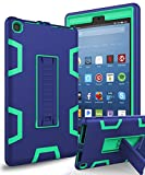 kindle fire protection case - All-New Amazon Kindle Fire HD 8 (2017 7th Generation)Case,XIQI Three Layer Hybrid Rugged Heavy duty Shockproof Anti-Slip Case Cover for Fire HD 8 Tablet(2017),Navy Blue/Green