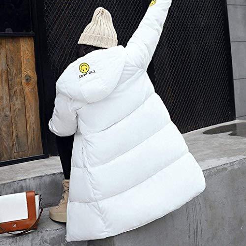 Espesar Largos Caliente Plumas Invierno Abrigo Elegantes Invierno Mujer Manga Acolchado Casuales Blanco Pluma Parka Larga Hooded Outdoor qBv1E0