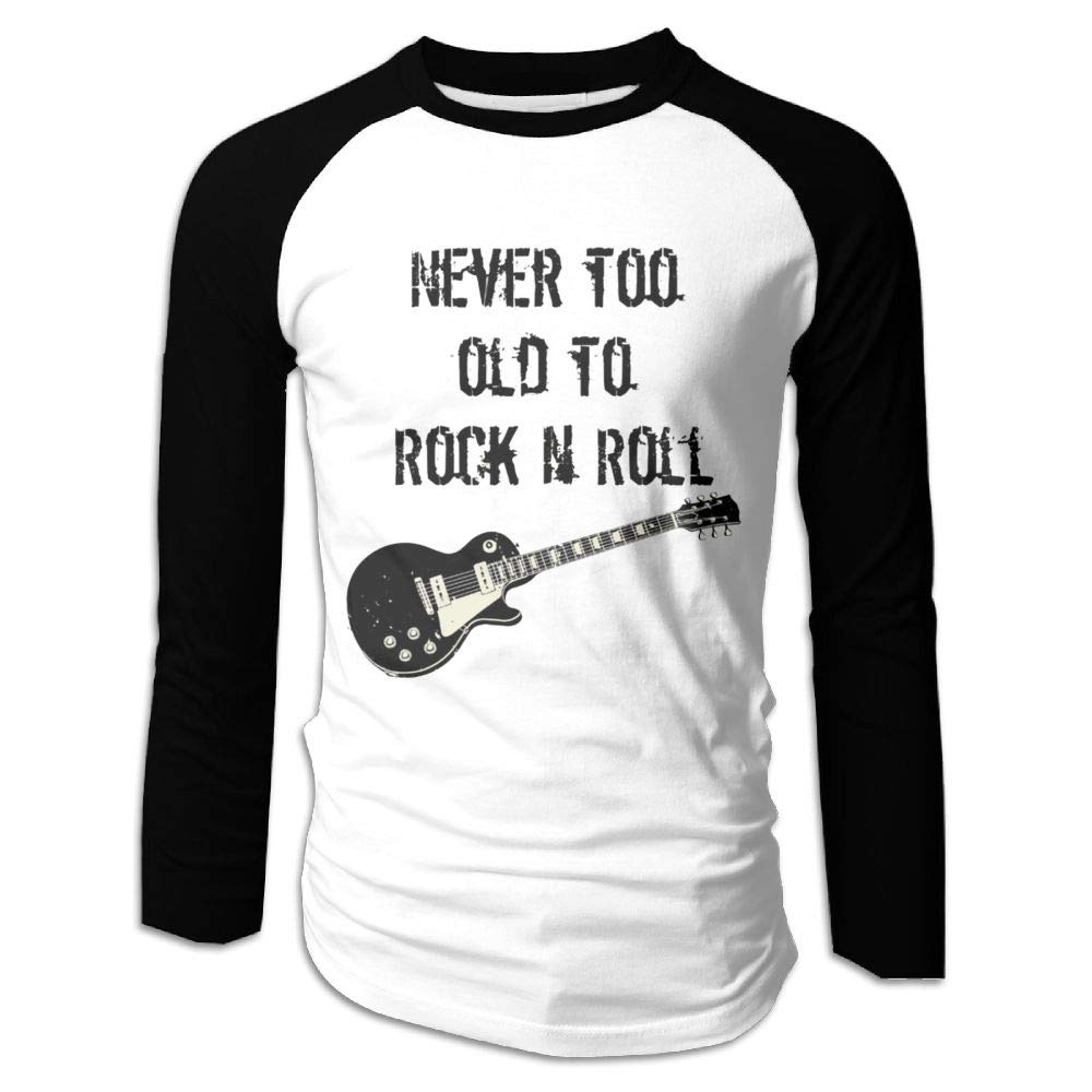 Wumayouly Men Never Too Old to Rock N Roll Classic Running Long Sleeve Shirts Black