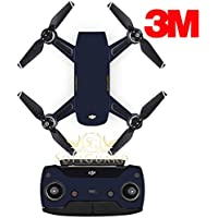 SopiGuard 3M Matte Navy Blue Precision Edge-to-Edge Coverage Vinyl Sticker Skin Controller 3 x Battery Wraps for DJI Spark