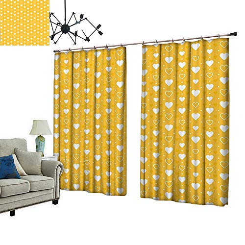 PRUNUS Colorful Waterproof Curtain with hookFull and Empty Heart Shapes with Little Dots and Tiny Cute Hearts Pattern Very Good Touch,W108 -