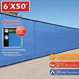 Fence4ever 6'x50′ 6ft Tall 3rd Gen Royal Blue Fence Screen Privacy Screen Windscreen Shade Cover Mesh Fabric (Aluminum Grommets) Home, Court, or Pool
