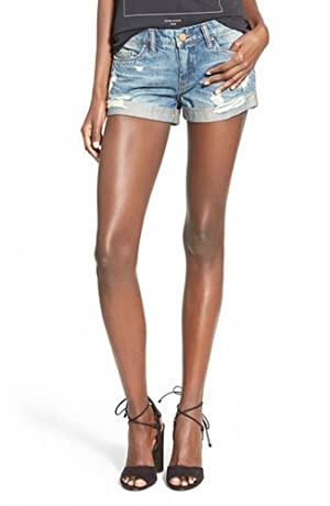 Blank NYC Womens Distressed Rollover Denim Shorts Blue 24