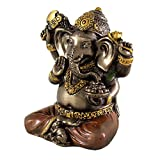 Top Collection Mini 2'' Ganesh Hindu Elephant God of Success. Good Protection. Bronze Powder Mixed with Resin - Bronze Finish with Color Accents.