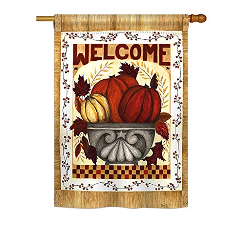 Two Sided Hanging Banner Flag - Breeze Decor H113067 Fall Welcome Decorative Vertical House Flag, 28