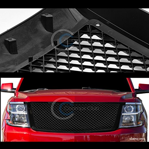 S/&T Racing Glossy Black Finished Mesh Front Hood Bumper Grill Grille Cover 2015-2018 for Chevy Tahoe//Suburban