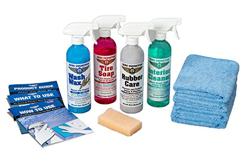 Aero Cosmetics Complete Car Care Kit - Wash Wax ALL, Interior Cleaner, Tire Soap, Rubber Conditioner, Aircraft Grade & Quality for your Car, Boat & RV (Complete Aero Kit)