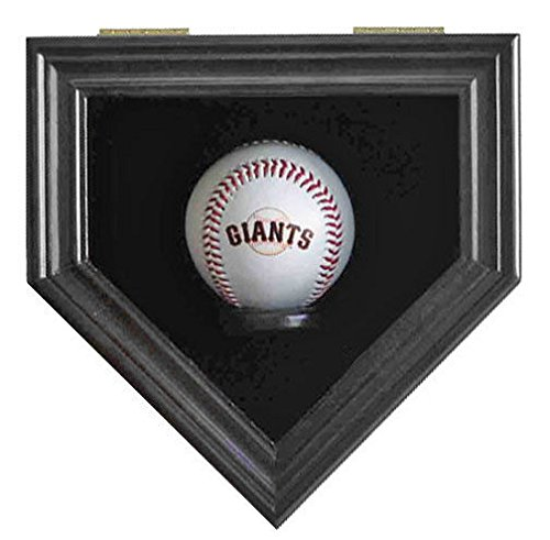 Black Finish Home Shape Shadow Box For A Autographed Baseball Locks Uv (Autographed Shadow Box)