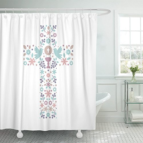 TOMPOP Shower Curtain Catholic Christian Cross with Natural Inside Doves Chalice Grapes and Flowers First Communion Waterproof Polyester Fabric 60 x 72 Inches Set with Hooks by TOMPOP