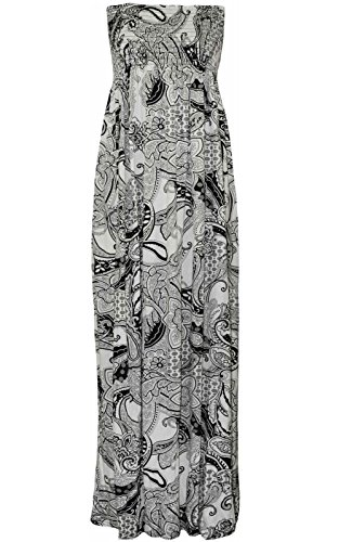 Long Stretchy Cream Dress Boobtube Sheering Womens Maxi Strapless New Janisramone Printed Paisley Bandeau P10YqZwq