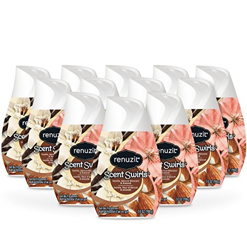 Renuzit Scent Swirls Air Freshener Gel, Vanilla, Apricot Blossom & Almond, 7 Ounces (12 Count)