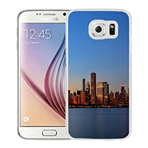 NEW Fashion Custom Designed Cover Case For Samsung Galaxy S6 Chicago Skyline White Phone Case