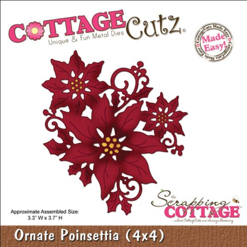CottageCutz Die Cuts, 4 by 4-Inch, Ornate Poinsettia Made Easy Accucut Die