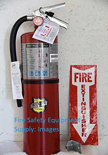 Fire Extinguishers Rechargeable (( Lot of 2 ) Buckeye 10 LB. ABC Fire Extinguisher - Rechargeable and Certified (Tagged) Ready for Fire Inspections, Wall Hook Bracket, and Arrow Sign Included to Mark the Spot UL Rating 4A - 80 B:C)