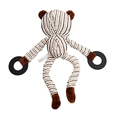 Meolin Cute Animal Shape Soft Corduroy Pet Toy Corduroy Critters Soft Toys Plaything Puppet,Banana circle bear,9.48in: Toys & Games