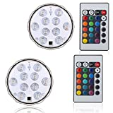 Creatrek Multi Color Remote Controlled Submersible LED Lights 10 LED IR Controlled Submersible Light Underwater Aquarium/Pond/Party/Wedding/Halloween/Christmas/Holiday Lighting (2-Pack)