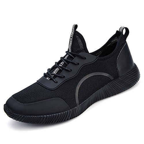 Gomnear Men's Breathable Shoes Mesh Lightweight Summer Casual Lace Up Shoe Fashion Outdoor Driving Walking Black