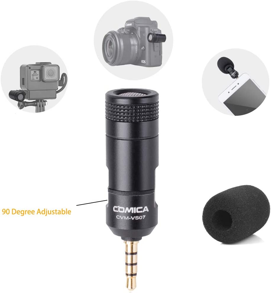 COMICA CVM-VS07 Mini Microphone for Gopro 6/7/8,3.5mm Cardioid Condenser Directional Video Microphone for Smartphone,DSLR Cameras,Stabilizer Mic for Podcast Livestream Facebook YouTube(TRRS/TRS)